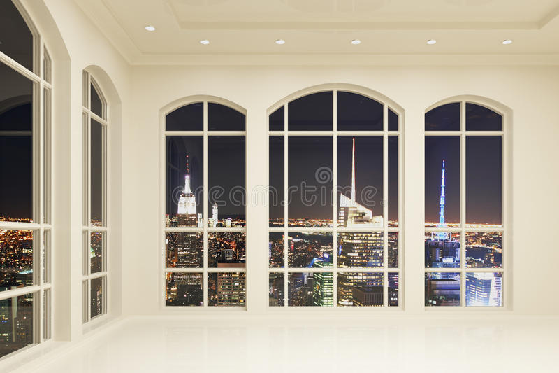Interno bianco del sottotetto con le grandi finestre e vista della città alla notte royalty illustrazione gratis