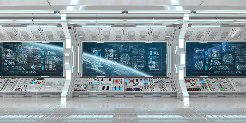 Interno bianco dell'astronave con gli schermi digitali 3D r del pannello di controllo illustrazione di stock