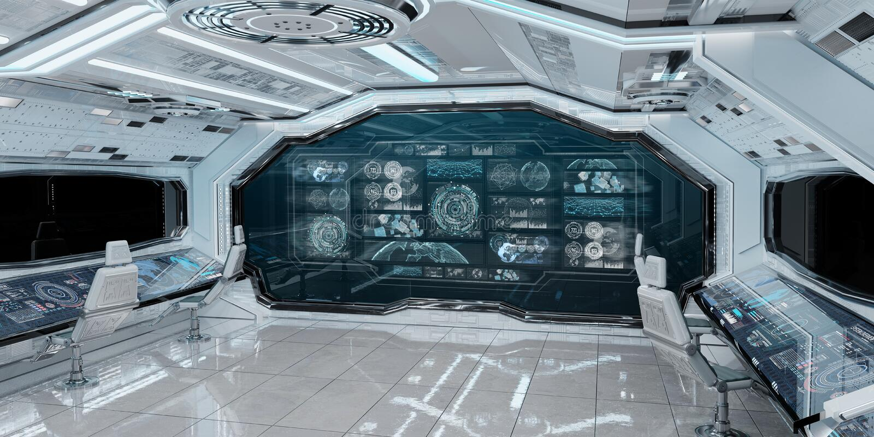 Interno bianco dell'astronave con gli schermi digitali 3D r del pannello di controllo illustrazione vettoriale