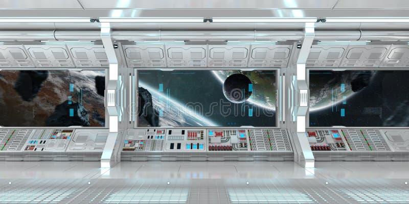 Interno bianco dell'astronave con la grande rappresentazione di vista 3D della finestra illustrazione di stock