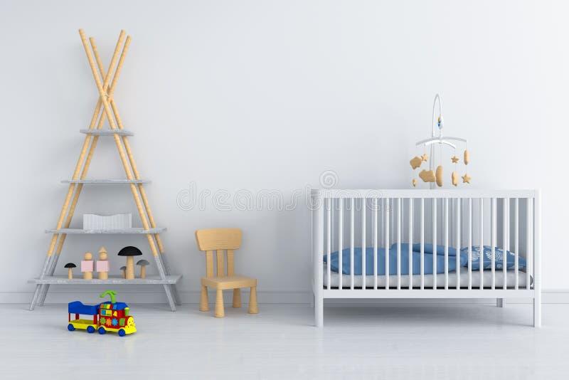 Interno bianco della stanza di bambino per il modello, rappresentazione 3D fotografia stock