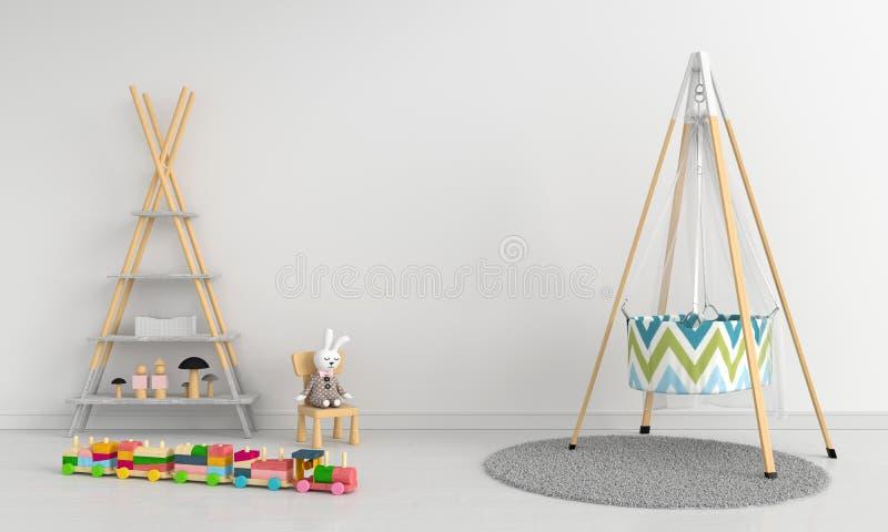 Interno bianco della stanza di bambino per il modello, rappresentazione 3D illustrazione vettoriale