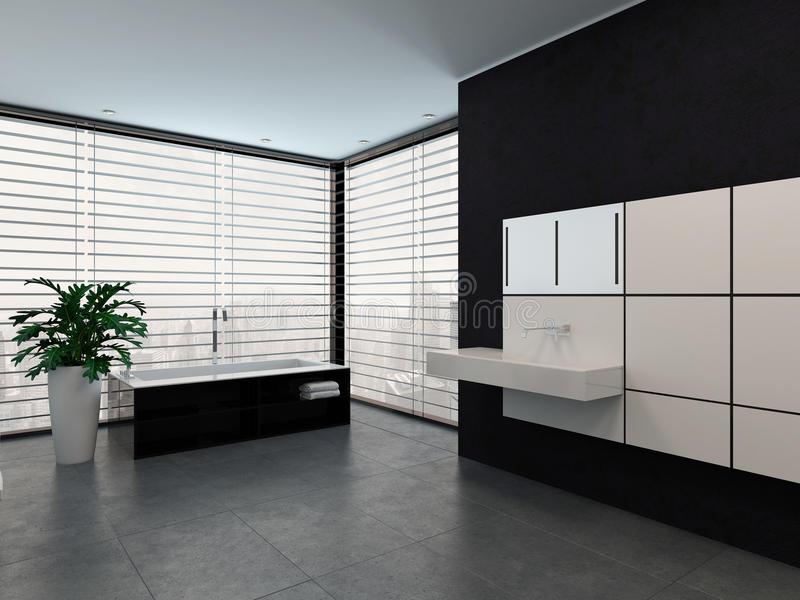 Interno in bianco e nero moderno di lusso del bagno - Pavimento interno moderno ...