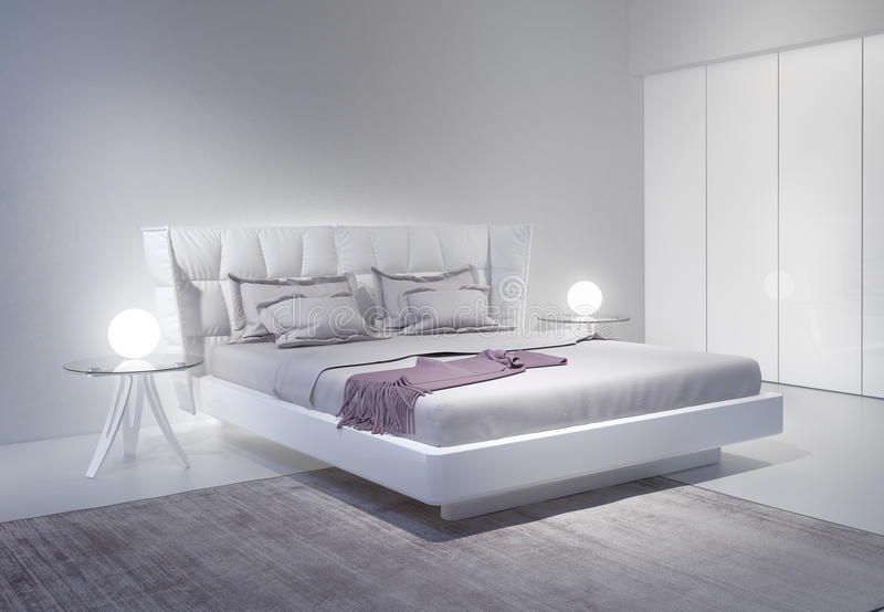 Interno bianco moderno della camera da letto con gli accenti viola illustrazione di stock