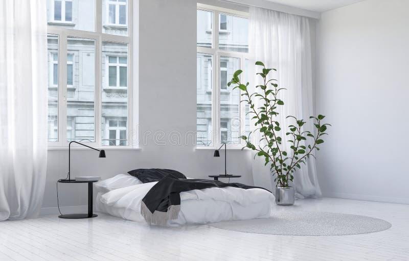 Interno bianco monocromatico moderno della camera da letto illustrazione di stock