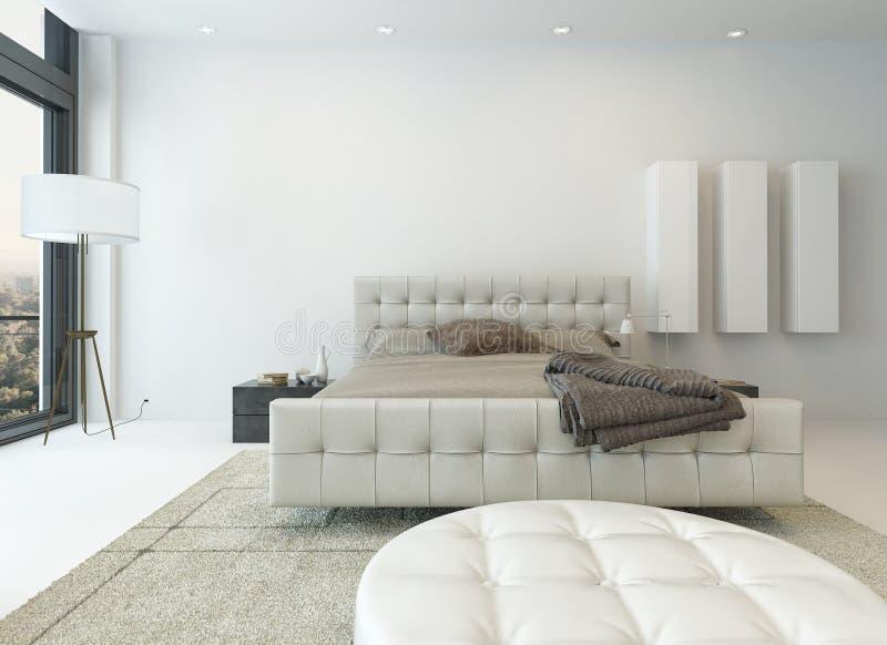 Interno bianco puro della camera da letto con letto a due piazze illustrazione vettoriale
