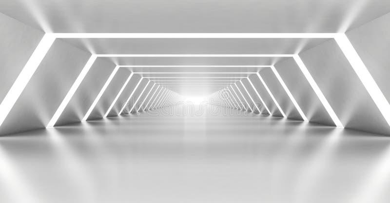 Interno bianco vuoto del corridoio illuminato estratto illustrazione di stock