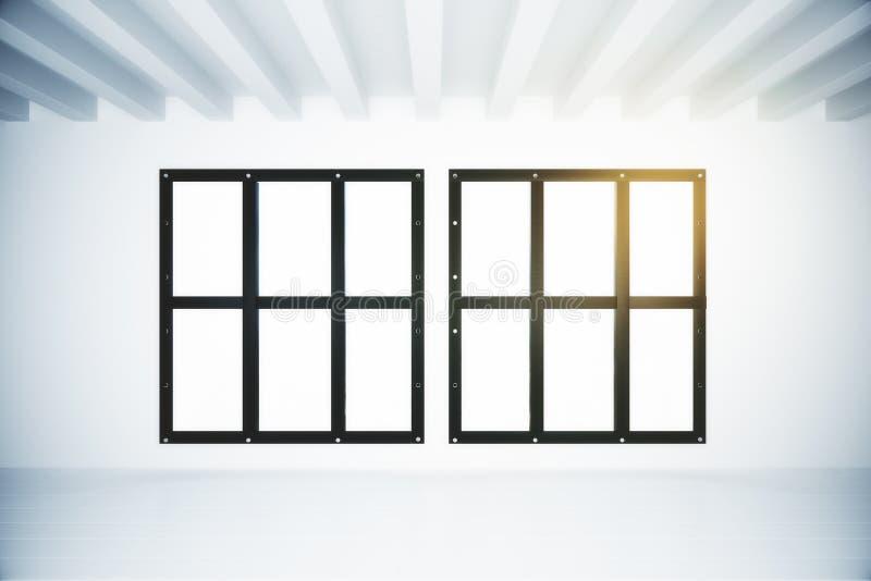 Interno bianco vuoto del sottotetto con due finestre royalty illustrazione gratis