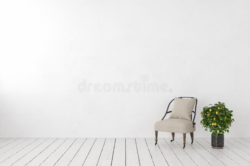 Interno bianco vuoto, parete in bianco con la poltrona del salotto, limone della pianta royalty illustrazione gratis