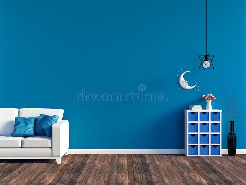 Interno blu moderno del salone - sofà del cuoio bianco e pannello di parete blu con spazio illustrazione vettoriale