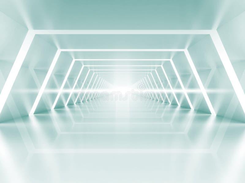 Interno brillante blu-chiaro vuoto del corridoio illuminato estratto royalty illustrazione gratis