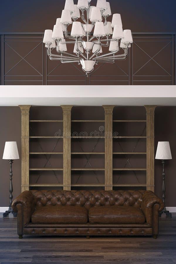 Interno classico con il sofà di Chesterfield immagine stock