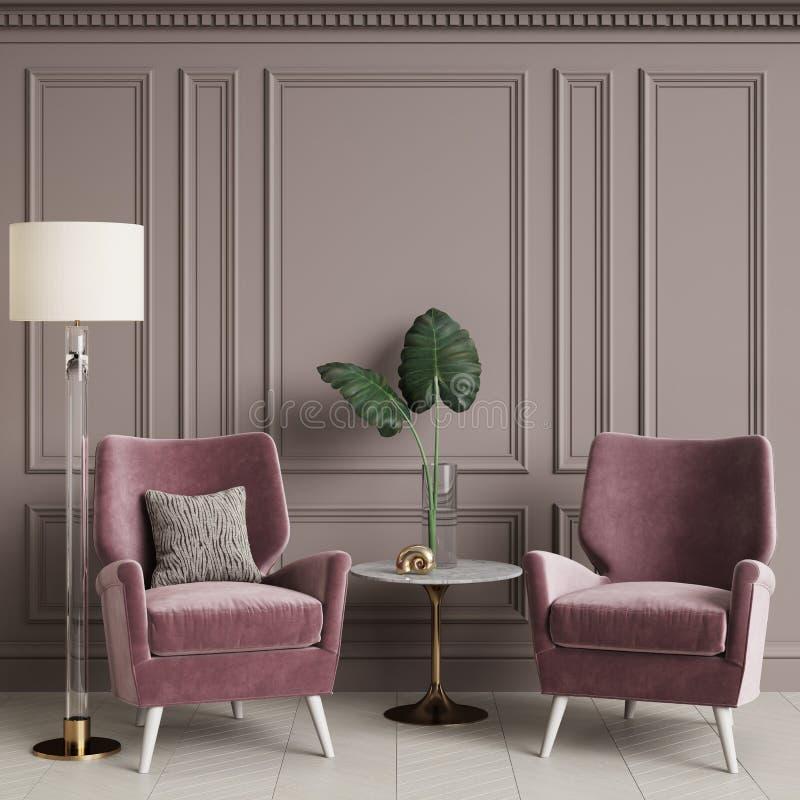 Interno classico con la poltrona e la lampada di pavimento rosa royalty illustrazione gratis