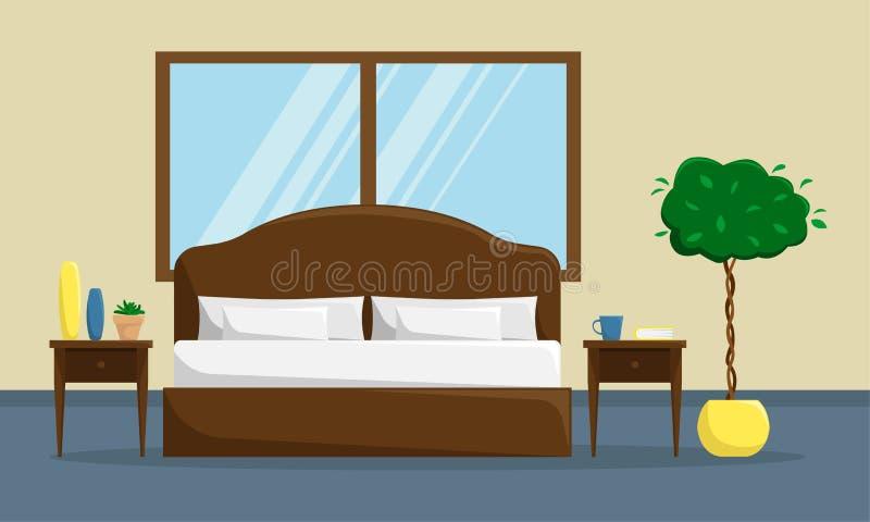 Interno classico della camera da letto con il letto ed i comodini royalty illustrazione gratis