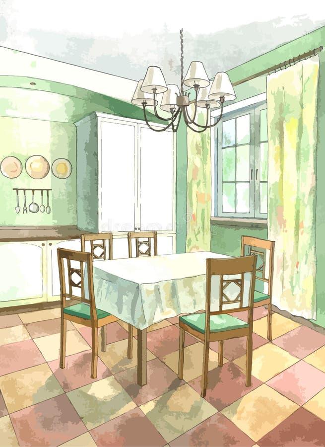 Interno classico della cucina nello stile piano illustrazione vettoriale illustrazione di - Piano della cucina ...