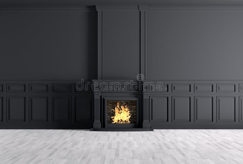 Interno classico vuoto di una stanza con il camino sopra la parete nera royalty illustrazione gratis