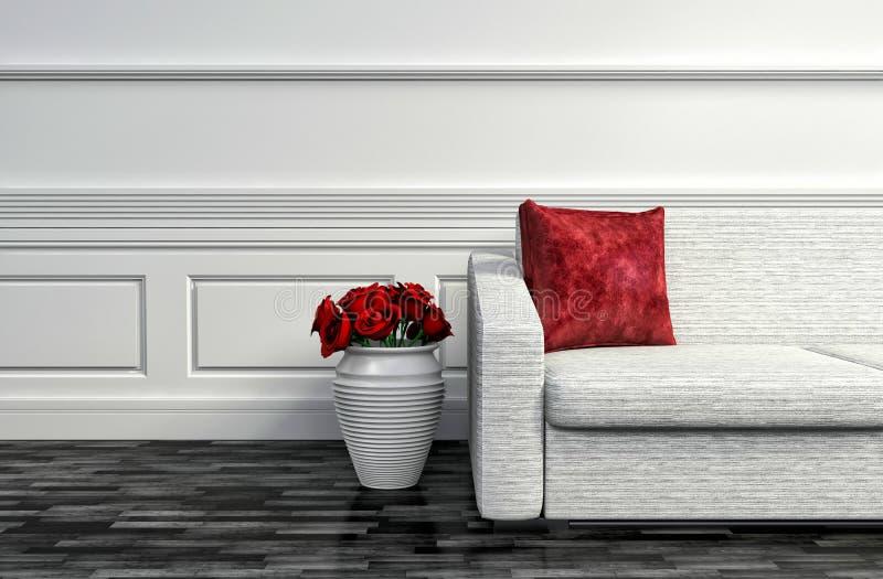 Download Interno Con Il Sofà Bianco E Del Rosa Rossa Illustrazione 3D Illustrazione di Stock - Illustrazione di vivere, residenziale: 55355853