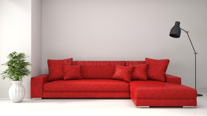 Interno con il sofà rosso illustrazione 3D illustrazione di stock