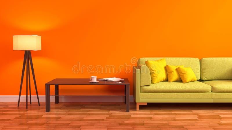 Interno con il sofà verde illustrazione 3D royalty illustrazione gratis