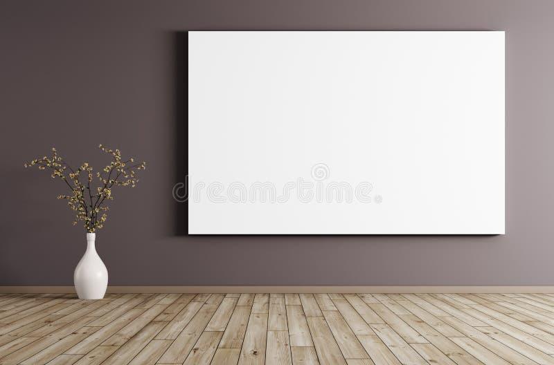 Interno con la grande rappresentazione del fondo 3d del manifesto illustrazione di stock