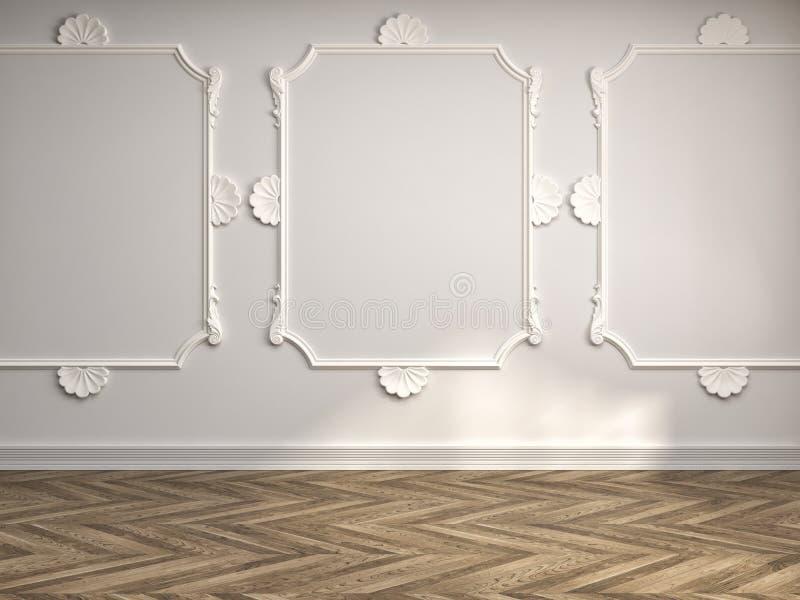 Interno con la parete classica illustrazione 3D illustrazione vettoriale