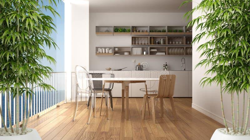 Interno con la pianta di bambù conservata in vaso, concetto naturale di interior design, cucina minimalista di zen con la finestr royalty illustrazione gratis