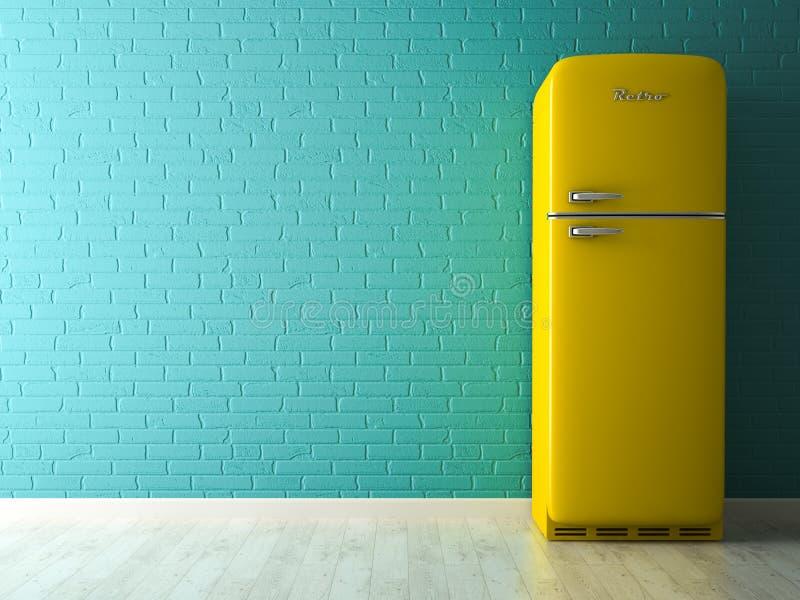 Interno con la rappresentazione gialla del frigorifero 3D illustrazione vettoriale