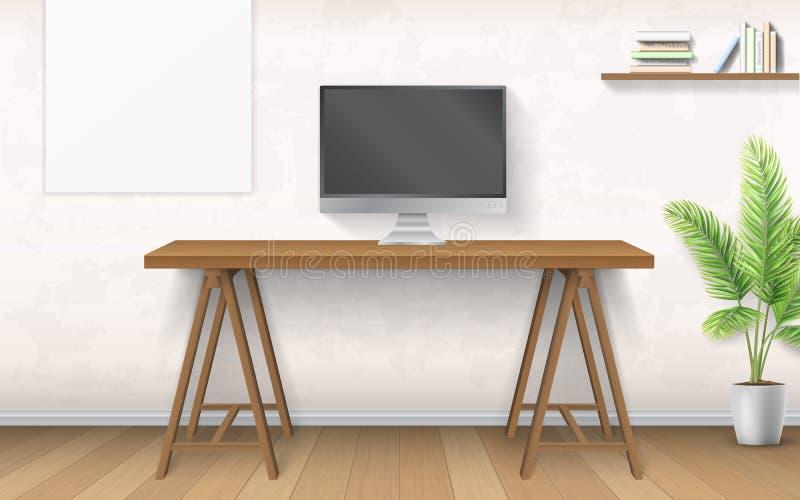 Interno con lo scrittorio ed il computer di legno illustrazione vettoriale