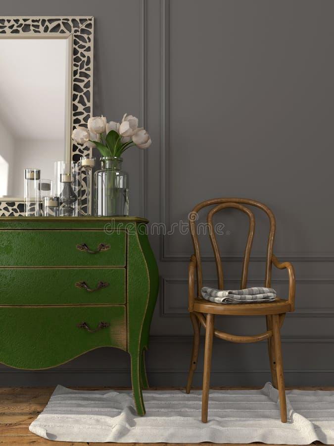 Interno con un cassettone verde e una sedia di legno fotografia stock libera da diritti