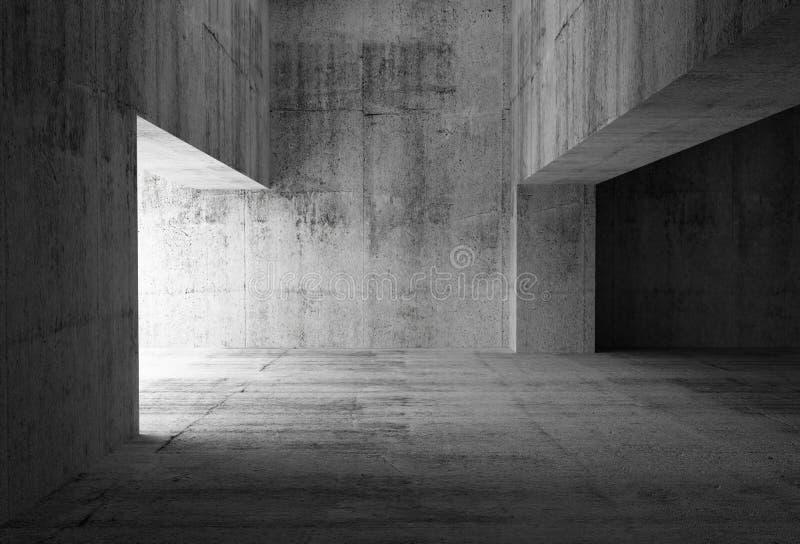 Interno concreto astratto scuro vuoto della stanza illustrazione vettoriale