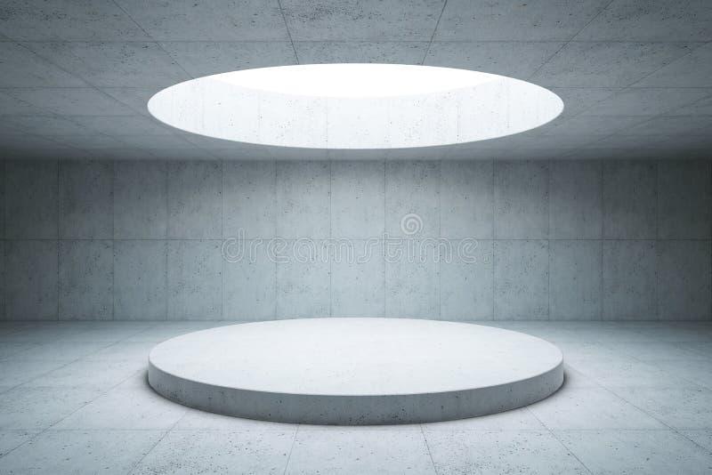 Interno concreto in bianco dello spazio, rappresentazione 3d illustrazione vettoriale