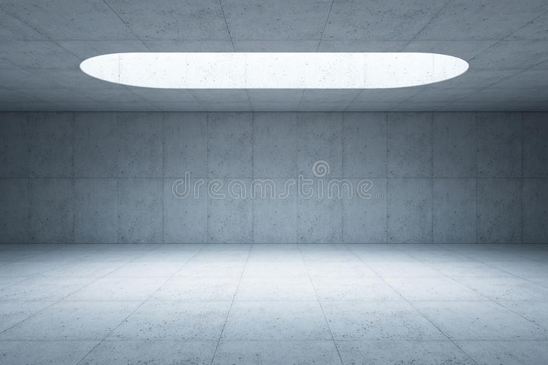 Interno concreto dello spazio dello spazio in bianco, 3d rendere illustrazione di stock