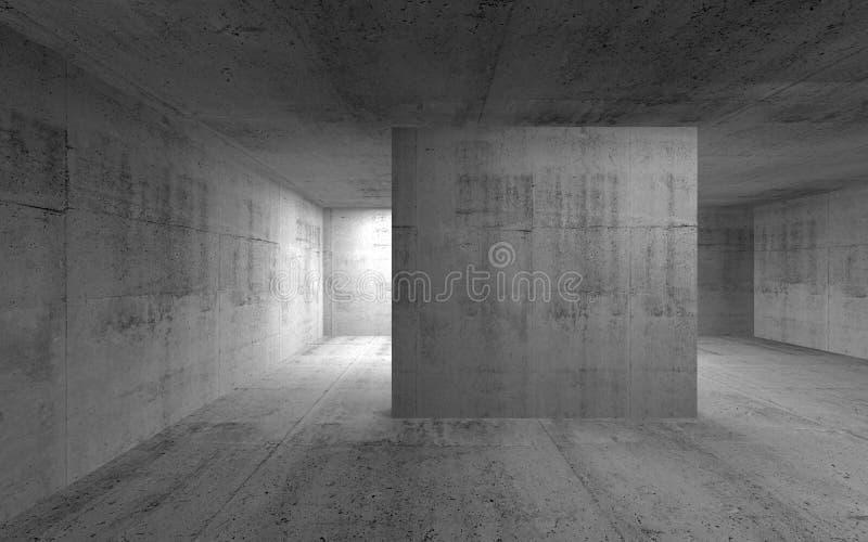 Interno concreto scuro vuoto astratto 3d rendono illustrazione di stock