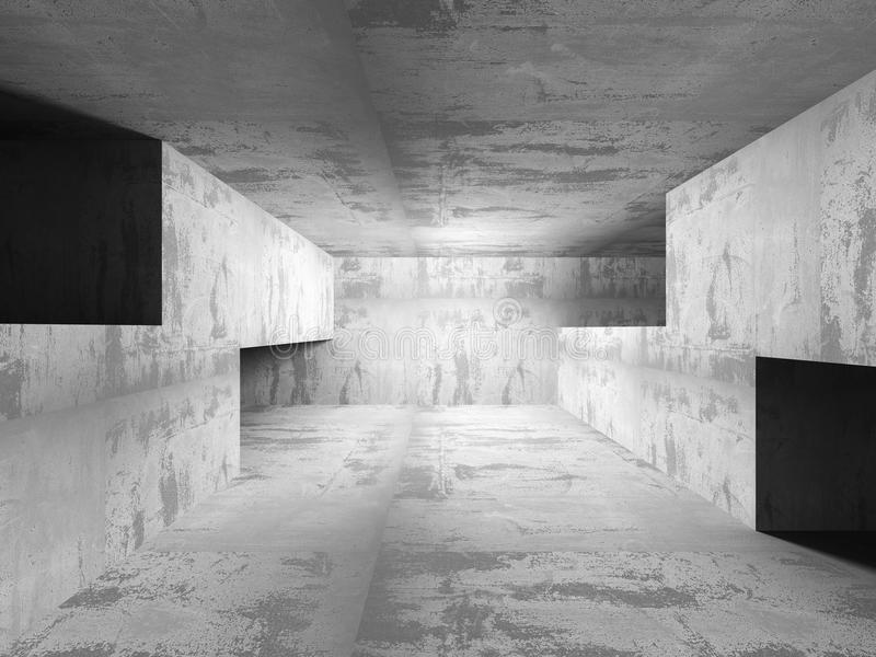 Interno concreto scuro vuoto della stanza Fondo urbano di architettura royalty illustrazione gratis