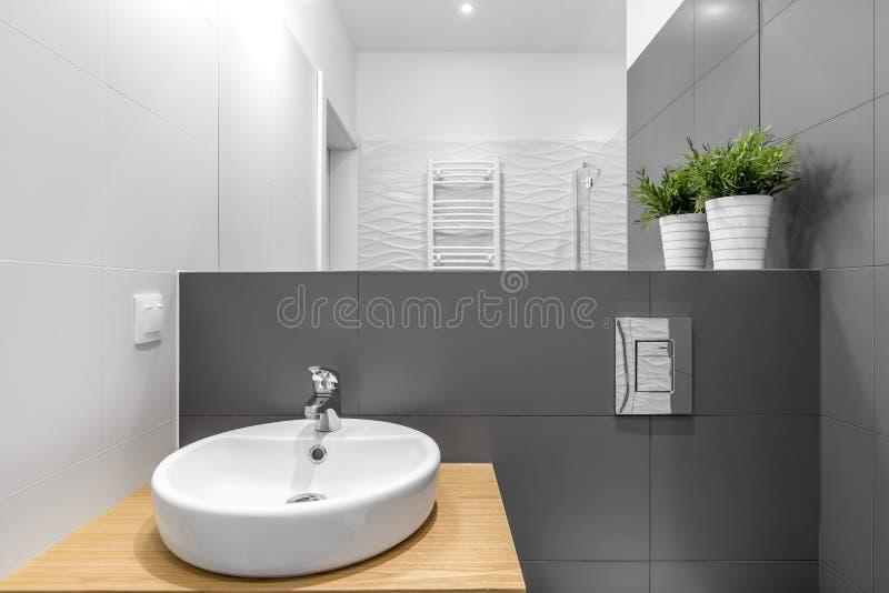 Interno contemporaneo del bagno con il bacino rotondo fotografia stock