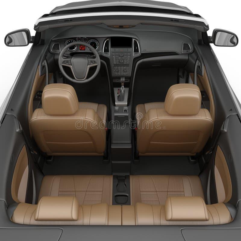 Interno convertibile dell'automobile sportiva isolato su un fondo bianco illustrazione 3D royalty illustrazione gratis