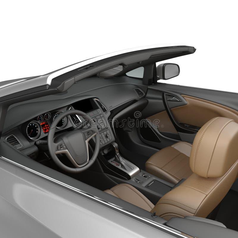 Interno convertibile dell'automobile sportiva isolato su un fondo bianco illustrazione 3D illustrazione di stock