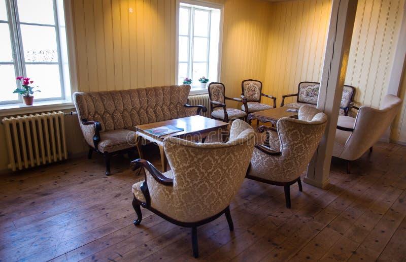 Interno d'annata dell'hotel islandese immagini stock libere da diritti