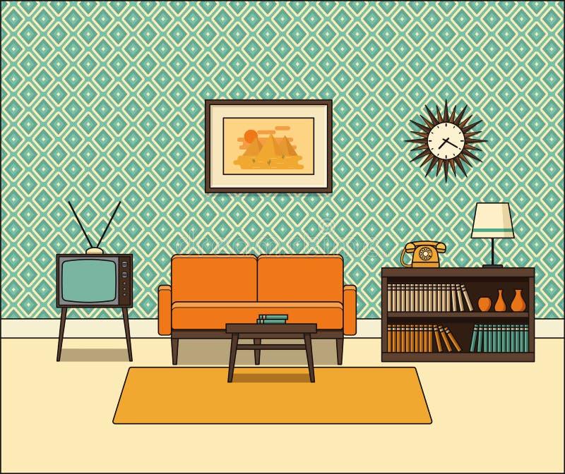 Interno d'annata della stanza nella linea stile di arte Illustrazione di vettore illustrazione vettoriale