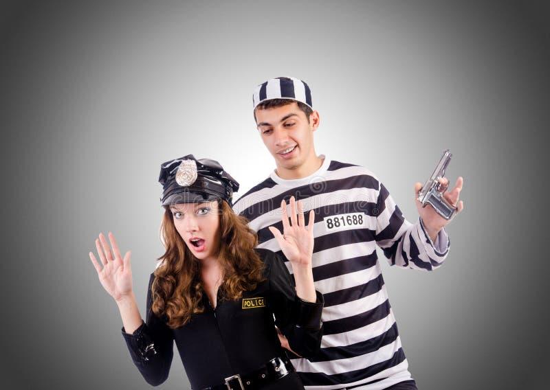 Interno da polícia e da prisão contra o inclinação fotos de stock royalty free