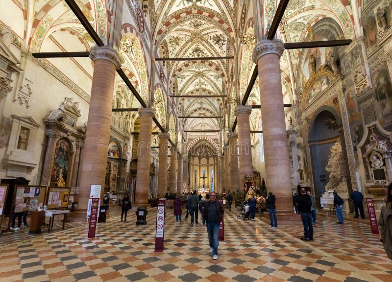Interno del ` Anastasia Church di Sant a Verona fotografia stock libera da diritti