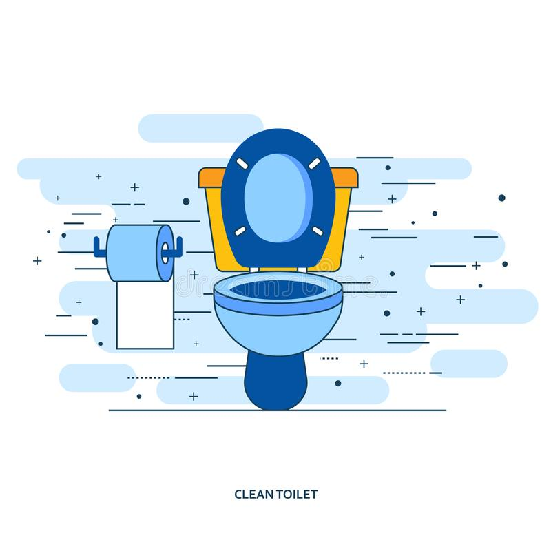 Interno del bagno con la ciotola di toilette e la carta igienica Vettore piano royalty illustrazione gratis