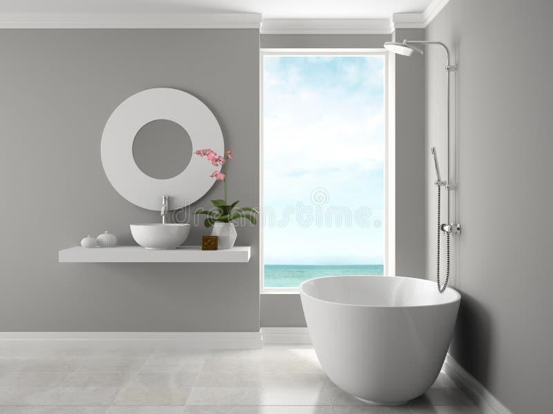 Interno del bagno con la rappresentazione di vista 3D del mare fotografia stock libera da diritti