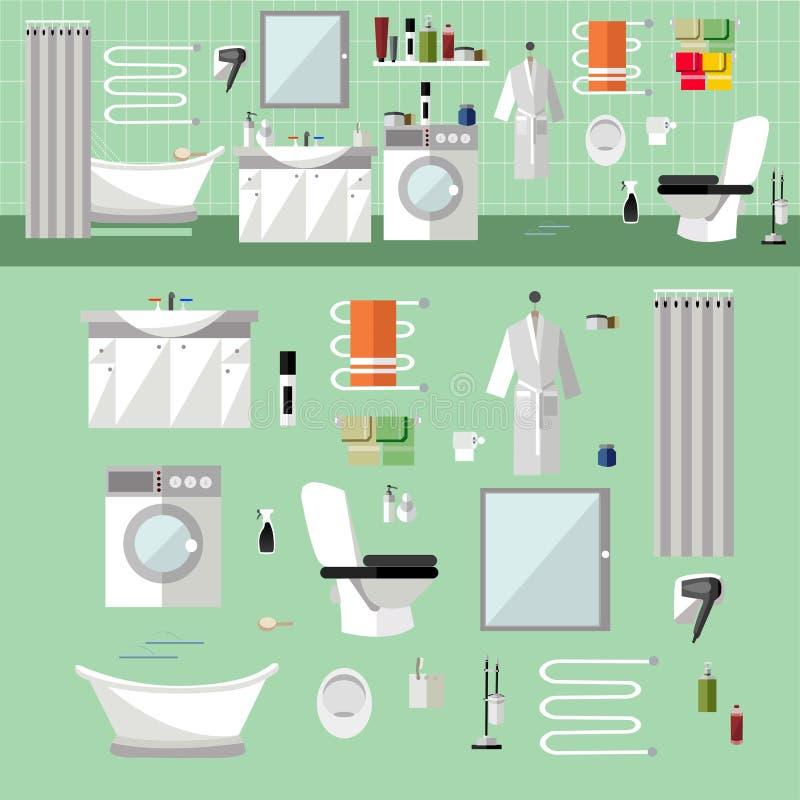 Interno del bagno con mobilia illustrazione di vettore for Elementi bagno