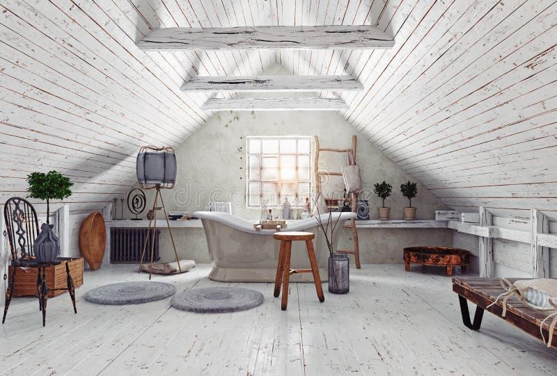 Interno del bagno della soffitta illustrazione di stock