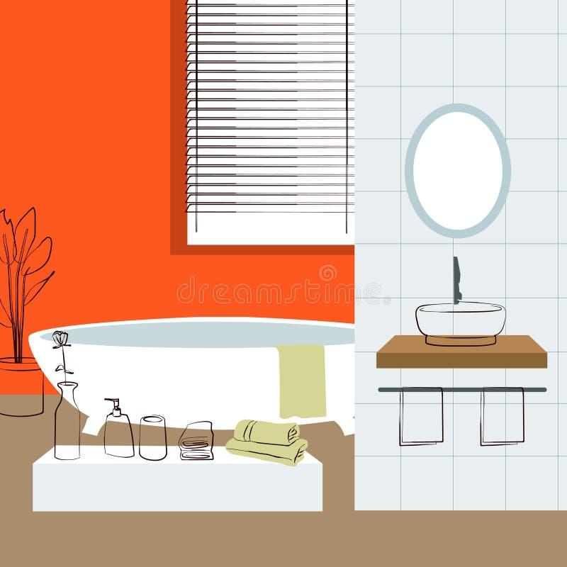 Interno del bagno interior design illustrazione for Layout del bagno principale