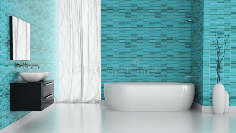 Interno del bagno moderno con la parete blu delle for Interno delle piantagioni del sud