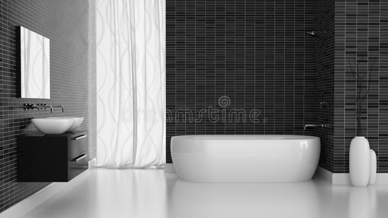 Interno del bagno moderno con la parete nera delle mattonelle royalty illustrazione gratis