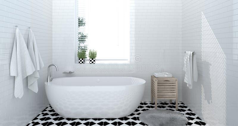 Interno del bagno, toilette, doccia, rappresentazione domestica moderna di progettazione 3d per il bagno bianco delle mattonelle  immagine stock libera da diritti