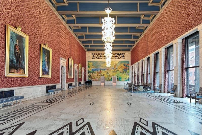 Interno del banchetto Corridoio nel comune di Oslo, Norvegia immagini stock